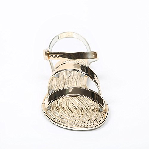 Ideal Shoes – Sandalen Flache Lack Sandra Gold - Doree