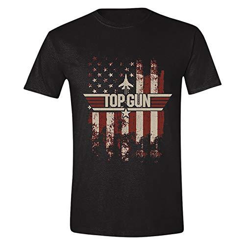 Top Gun Herren T-Shirt Distressed Flag Baumwolle schwarz - M