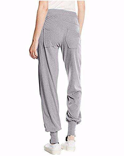 Auxo Femme Plain Casual Pantalons Sports Physique Slim Extensible Jambières Joggings Poches Pantalons Gris