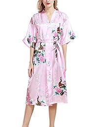 eb84c7ea45dcbe Dolamen Damen Morgenmantel Kimono, glatte Satin Nachtwäsche Bademantel Robe  mit Peacock und Blume Kimono Negligee