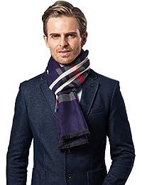 Bufanda Hombre clásico invierno de Super Soft largo de la borla tela escocesa de la bufanda de rayas