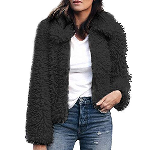 Mode Kurz Coat Damen Mäntel Warme Künstliche Wollmantel MYMYG Reißverschluss Jacke Winter Parka Oberbekleidung Revers Faux Für Outwear Winterjacke ()