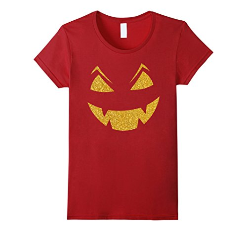 halloween-shirts-gold-sequins-scary-carved-face-damen-grosse-m-cranberry