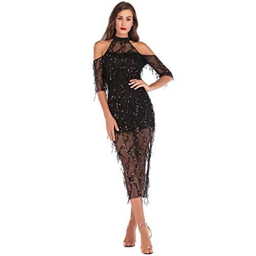 CICIYONER Abendkleid Kleid Damen Frauen Halfter halben Hülse aus Schulter Pailletten Quaste Cocktail