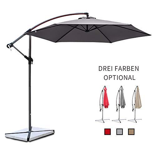 Ziigo Parasol de Jardin, Ø 3m Parasol Cantilever Banana pour Patio Parapluie en Aluminium Pare-Soleil UV50 + Protection Solaire, 6 Baleines, Gris