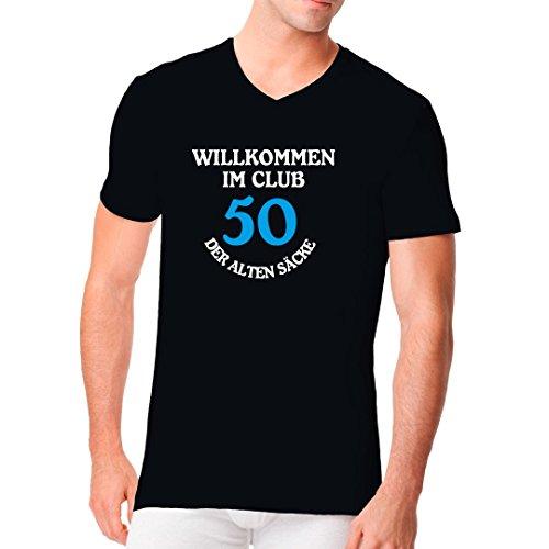 Fun Sprüche Männer V-Neck Shirt - Club der alten Säcke - 50 Jahre by Im-Shirt Schwarz