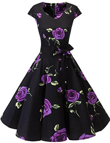 Dresstells Vintage 50er Swing Party kleider Cap Sleeves Rockabilly Retro Hepburn Cocktailkleider Purple Flower 2XL