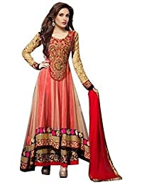 Aarvicouture Women's Gown Latest Party Wear Designer Net Silk Embroidery Semi Stitched Free Size Salwar Suit Dress...