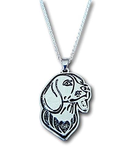 Beagle geätzt Silber Kette Beagle Anhänger Hund Halskette von pashal