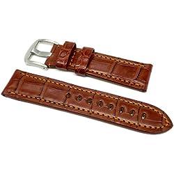 DaLuca OEM Style Alligator Watch Strap - Brown : 24mm