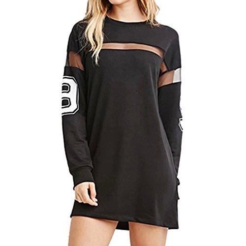 QIYUN.Z Frauen Schwarz Gedruckt Baseball T-Shirt Kleid Spleißen Lange Ärmel Mini-Rock (T-shirt Damen Rock)