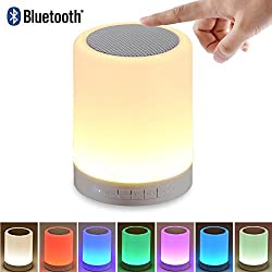 Led Bluetooth Speaker, Tectri Wireless Portable Touch Dimmable Night Light With Mp3 Player For Kids, Bedroom, Bathroom