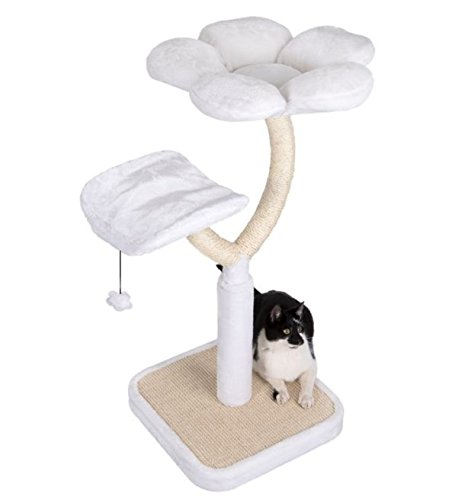 White Blossom Cat Tree Medium - Elegant with Two Platforms and Sisal-Covered Metal Posts - Offers your Cats A Place to… 3