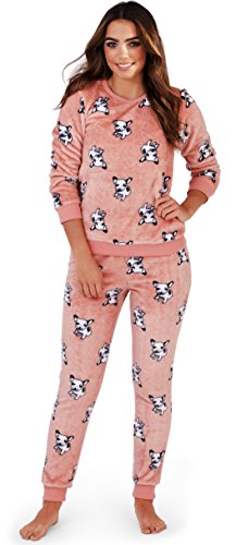 - 41ZUh9 2BHMyL - Cute and Cuddly, Ladies Novelty Flannel Fleece French Bulldog Print Long Sleeved 2 Piece PJ Pyjama Set, Hooded Robe or Onesie, Coral/Pink