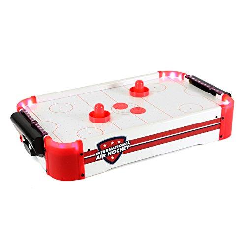 Nexos Mini Airhockey-Tisch Spielfeld mit LED-Beleuchtung Batterie 55 x 31 x 9,5 cm inkl. Puck Filz Puscher und Torzähler Tischspiel für Groß und Klein
