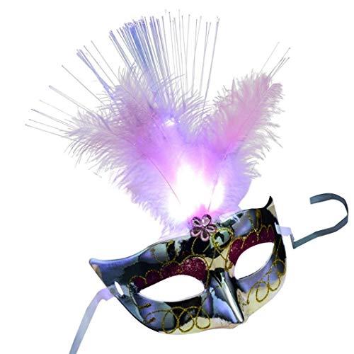Maske Wolf Kostüm Silver - Mmhot-mj LED Faser Federmaske Maskerade Phantasie Cosplay Karneval Kostüm Zubehör Dekoration Prop (Farbe : Silver)