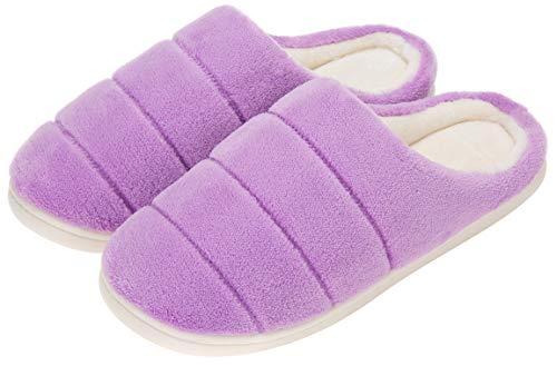 Zapatillas de Casa Invierno para Mujer Zapatillas de Estar en Casa con Suela Antideslizante - Comodas y Calentitas,Morado 39 EU/40-41CN