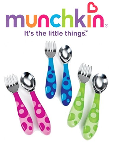 Munchkin Toddler Fork & Spoon Set 12 Months BPA Free (Green)