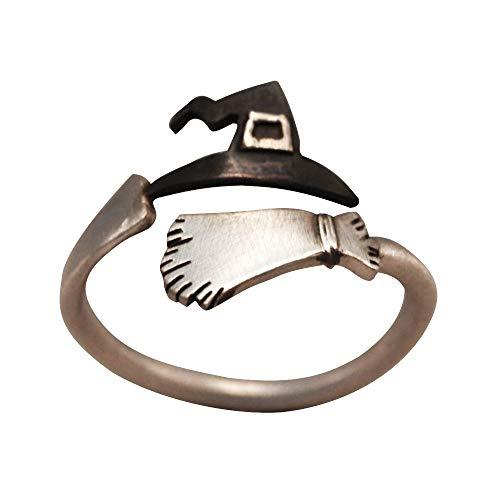 en Geist Hexe Besen Muster Fingerring Offene Ringe Party Cosplay Schmuck Für Junge Damen und Herren (Mehrfarbig) ()