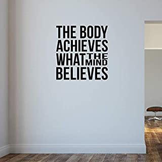 The Body Achieves What the Mind Believes.Gym Bodybuilding Weightlifting Wall Decal Motivational Quote.