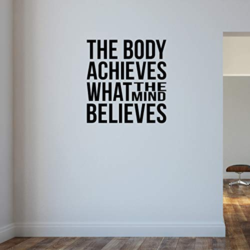 Der Körper erreicht, was the Mind glaubt... Gym Bodybuilding Gewichtheben Wand Aufkleber Motivational quote-health und Fitness Kettlebell Crossfit Workout Boxen UFC MMA