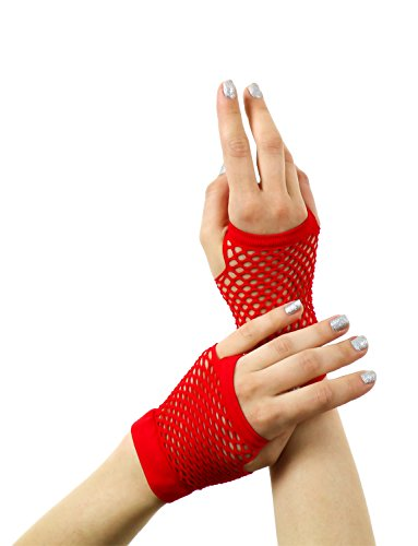 Yummy Bee Fingerlose Netzhandschuhe Lang Kurz Damen Burleskes Kostüm 80er (Rot, Kurz)
