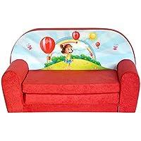FORTISLINE Kindersofa Mini zum Aufklappen Girl Red W386_08 preisvergleich bei kinderzimmerdekopreise.eu