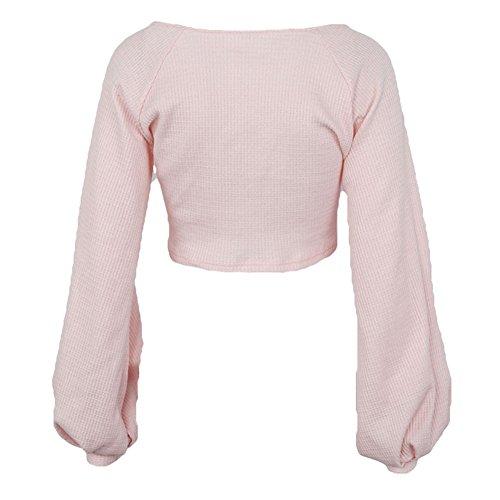 Hibote T-Shirts Femme Manchon Lanterne Blouse Court Tops Mode Chemisier Rose