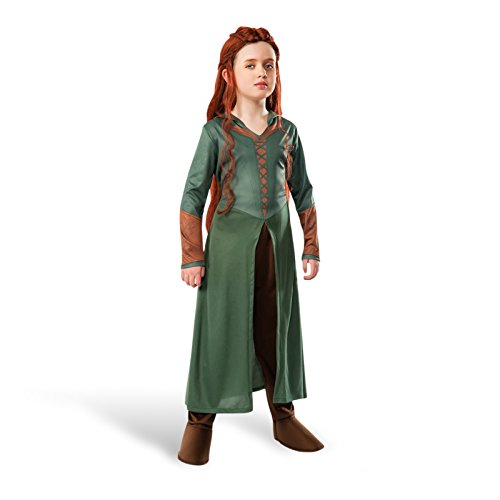 Hobbit Smaugs Einöde Elbe Tauriel Kinder Kostüm 2-tlg Kleid mit Kapuze, Hose mit Galoschen - (Kostüm Mädchen Hobbit)