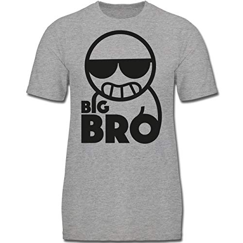 Geschwisterliebe Kind - Big Bro - 164 (14-15 Jahre) - Grau meliert - F130K - Jungen Kinder T-Shirt - Big Kinder Bekleidung Lila