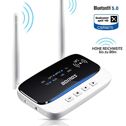 BOIROS Bluetooth Adapter - 5.0 Audio Transmitter und Empfänger, 3-in-1 Receiver Sender mit Optischen aptX LL für Stereoanlage Fernseher Lautsprecher Kopfhörer Autoradio
