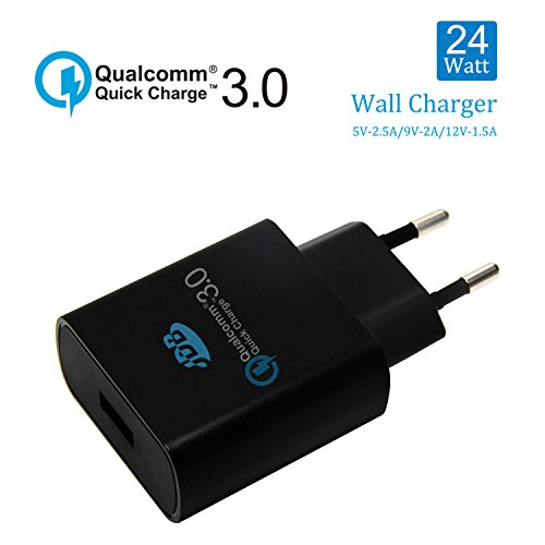 Quick Charge 3.0 USB Ladegerät, JDB 18W 2A USB Netzteil Ladegerät, USB Ladeadapter Steckernetzteil für iPhone, Samsung Galaxy, Hinweis, LG, HTC, Nexus, iPads LG, Nexus, HTC, Motorola ---Schwarz (Handy-ladegerät-wand-motorola)