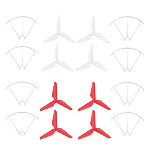Neu Prop Wächter X5C-1, TechCode 3-Blatt 3-Blatt Upgrade Propeller & Prop Schutz für Syma X5C-1 X5A X5C X5S X5SC X5W X5SW JJRC H5C Skytech M68R Quadcopter (Weiß und Rot) (2g-snap)