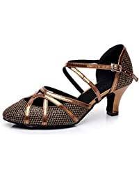 JSHOE Frauen Net Flash Latin Dance Schuhe Salsa/Tango/Tee/Samba/Modern/Jazz Schuhe Sandalen High HeelsPhotoColor-heeled8cm-UK55