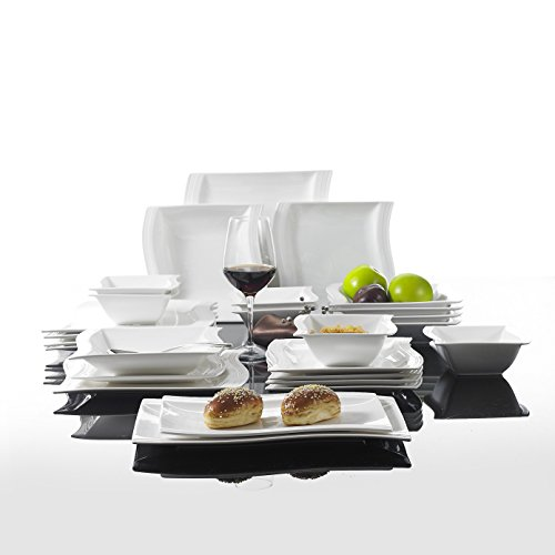 Malacasa, Series Flora, 26-Piece China Ceramic Cream White Porcelain Dinner Set with 6 x Bowls 6 x Dessert Plates 6 x Soup Plates 6 x Dinner Plates 2 x Rectangular Plates