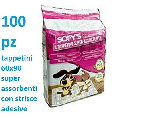 sofis 100 tappetini igienici per Cane 60x90 100 Pezzi traversine Cani Animali Domestici con Adesivo Anche per Gatti Anti Odore