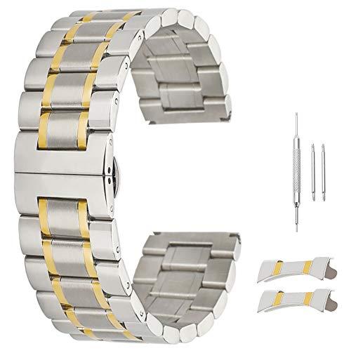 Männer 14mm 17mm 18mm 19mm 20mm 21mm 22mm 23mm 24mm Uhrenarmband Wechselband Gebogen Ende Bands Goldton