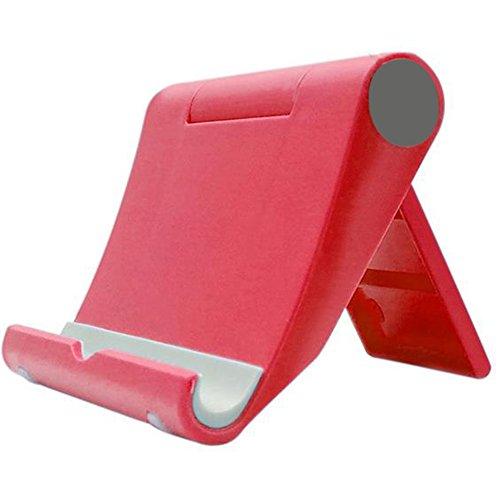 outflower Lazy funda para teléfono Soporte Base de ordenador de sobremesa Tablet función giratoria multifunción funda para teléfono accesorios Fashion teléfono móvil soporte de plástico plegable rojo rosso 9x10.5x2.5cm