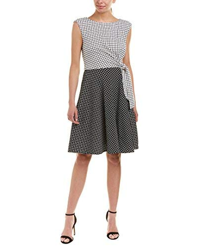 Tahari by ASL Womens Grid Pattern Side Tie Dress