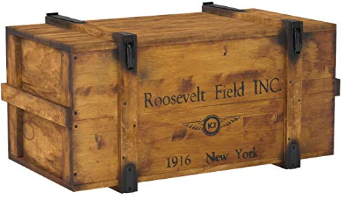 Uncle Joe´s Truhe Holzkiste Roosevelt Field, 98 x 55 x 48 cm, Holz, Hellbraun, Vintage, Shabby chic Couchtisch, braun, 98x55x48 cm - 6