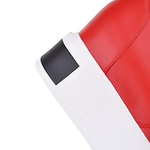 AgooLar Femme Rond à Talon Correct De Cheville Couleur Unie Bottes avec Métal Rouge