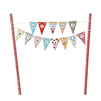 Innoru Mini Happy Birthday Cake Bunting Banner Cupcake Topper ,Multicolor Pennant Flags with Red Pole ,Mini Banner Decor