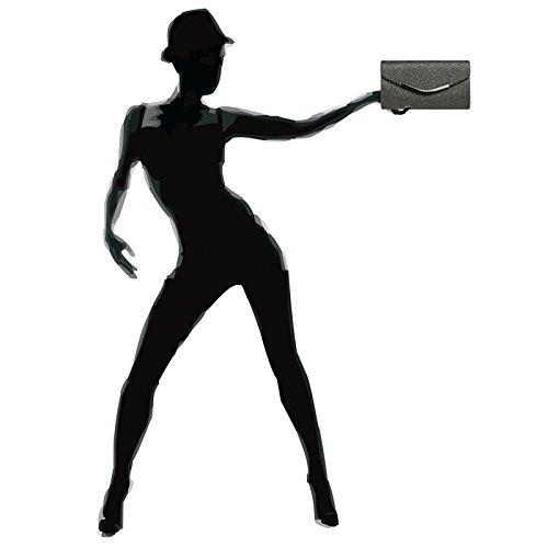 CASPAR TA370 elegante Damen Envelope Clutch Tasche / Abendtasche mit langer Kette Dunkelgrau