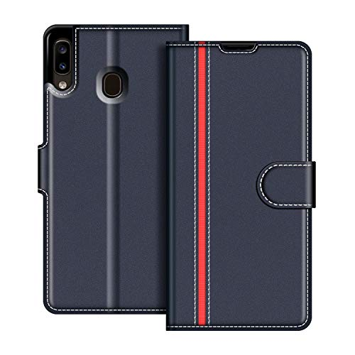 COODIO Samsung Galaxy A20e Leather Case, Samsung Galaxy A20e Case, Magnetic Clasp Card Case Cover for Samsung Galaxy A20e, Dark Blue / Red