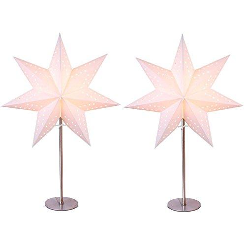 Standleuchte Stern 2er Set, creme | Papierstern | Weihnachtsstern | Weihnachtsstern | Lampe | Dekostern | Fensterdeko