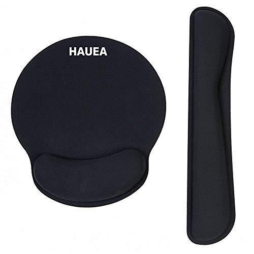 HAUEA Mauspad und Tastatur pad im Set ergonomische rutschfeste Handgelenkauflage aus Memory-Schaum Anti-Sehnenscheidenprobleme für Computer und Laptop in Büro, Haus, Studium, Computerspiel