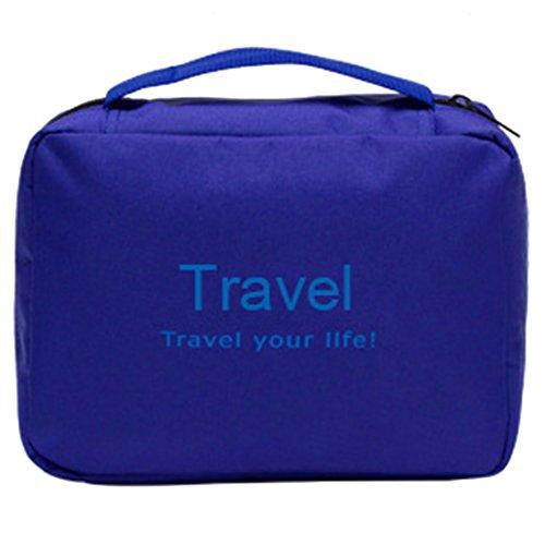 Teckpeak Viaggi esterna impermeabile Hanging Makeup Case bagagli borsa da toilette di lavaggio cosmetico - Sapphire Blue