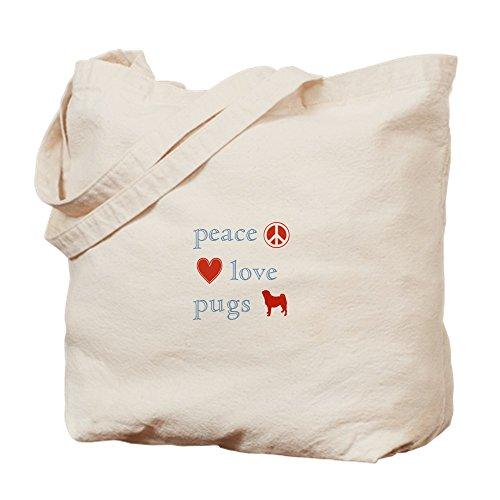 CafePress-Frieden, Liebe und Möpse-Leinwand Natur Tasche, Reinigungstuch Einkaufstasche Tote S khaki -