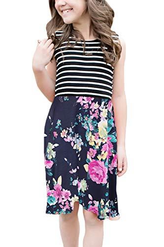 BesserBay Mädchen Gestreiftes Sommerkleid mit Blumen Gemustert Kinder Midi Kleider Navy M (Kinder Navy Kleid)