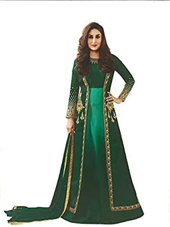 Yashraj Export Women's Georgette And Art Silk Anarkali Suit with Matching Bottom, Inner and Duppta(YERF21204)